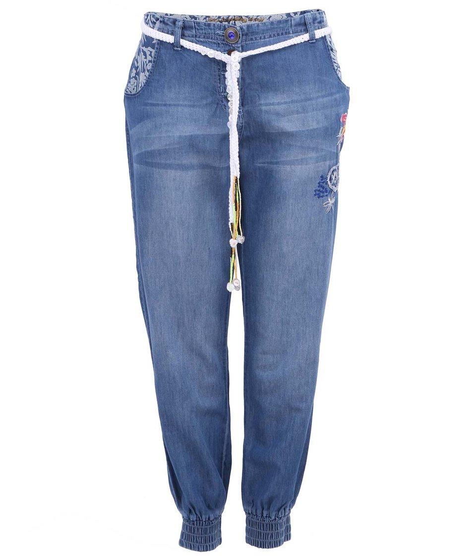 Modré tříčtvrteční kalhoty s provázkem Desigual Sidio
