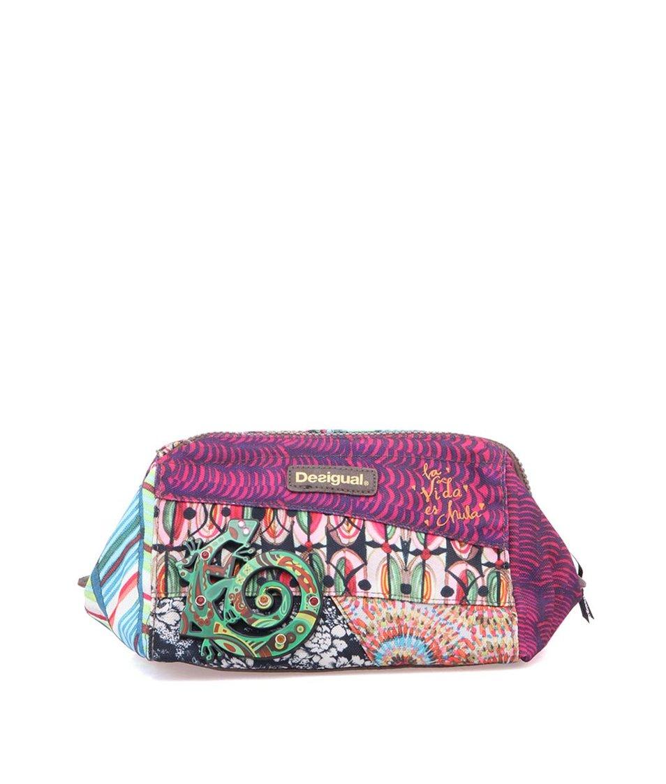 Barvená vzorovaná kosmetická taštička s ještěrkou Desigual