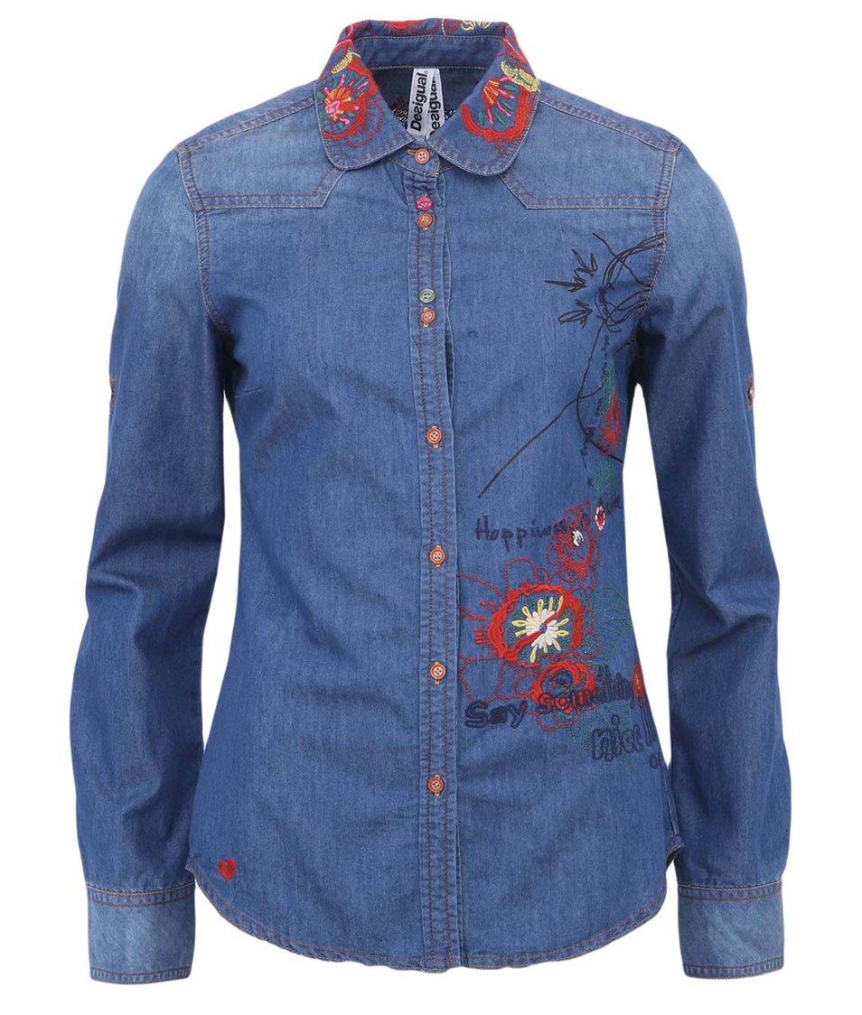 Modrá džínová košile s výšivkou Desigual