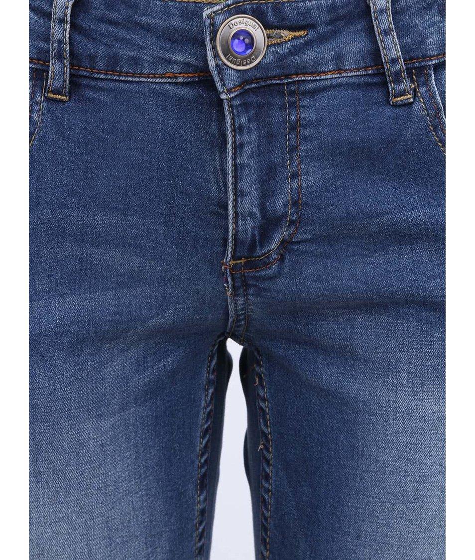 Modré džíny s úzkými nohavicemi Desigual Suerte
