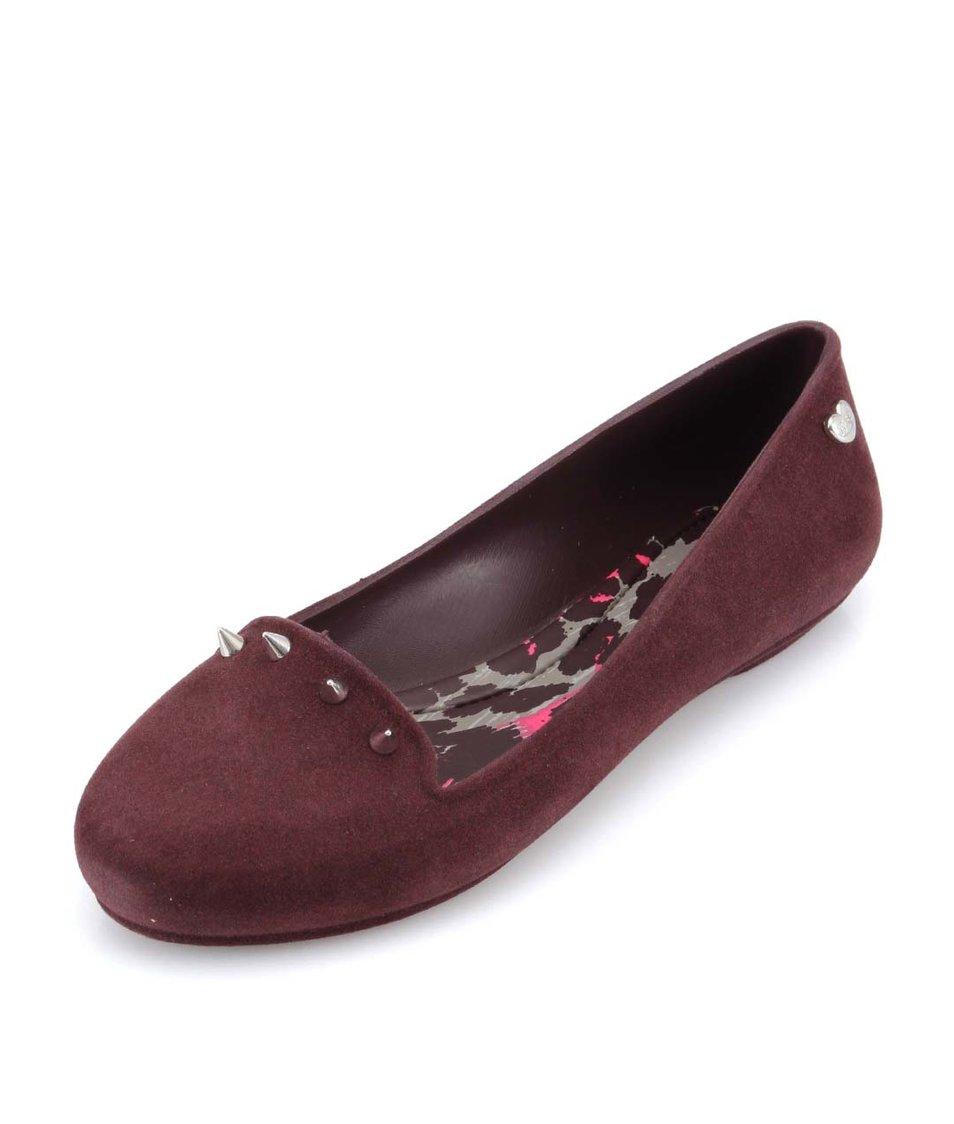 Vínové loafers s ostny Mel Glow