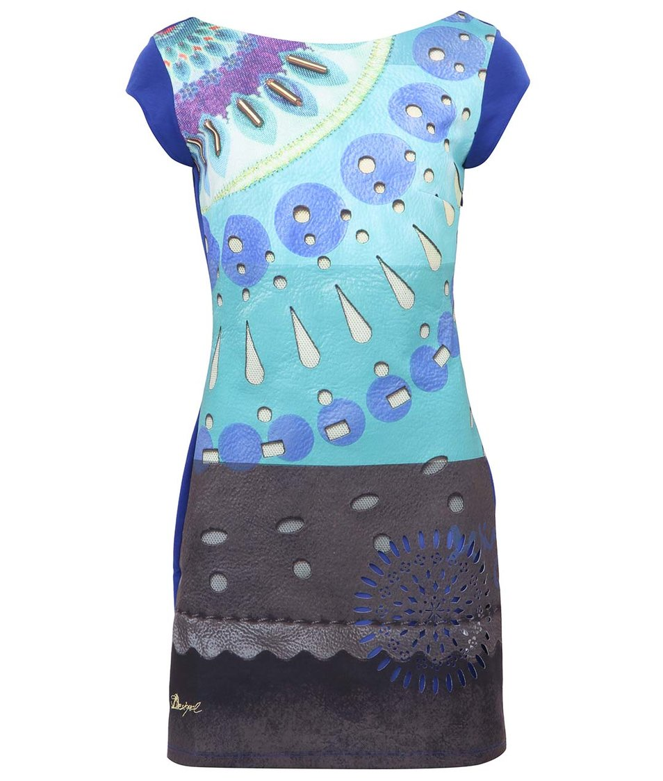 Barevné šaty s potiskem a perforovaným vzorem Desigual Eimans