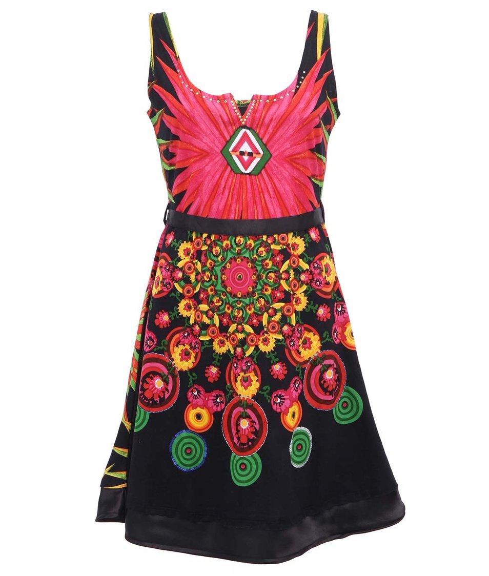 Černé šaty s potiskem Desigual Sanzibar Rep