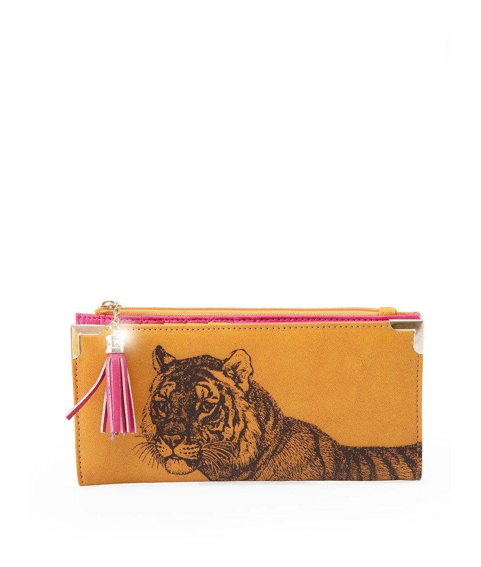 Hořčicová rozkládací peněženka s tygrem Disaster