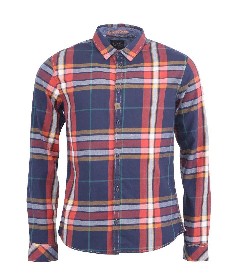 Tmavě modro-červená pánská kostkovaná košile Blend