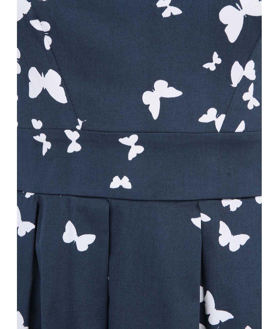 Tmavě modré šaty s motýly Closet