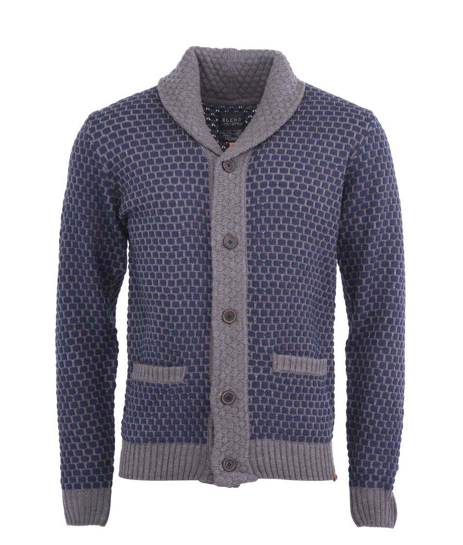 Šedý svetr s modrým vzorem pánský cardigan Blend