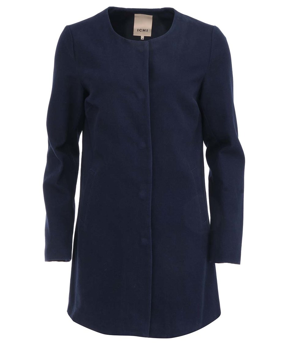 Tmavě modrý delší kabát ICHI Teval