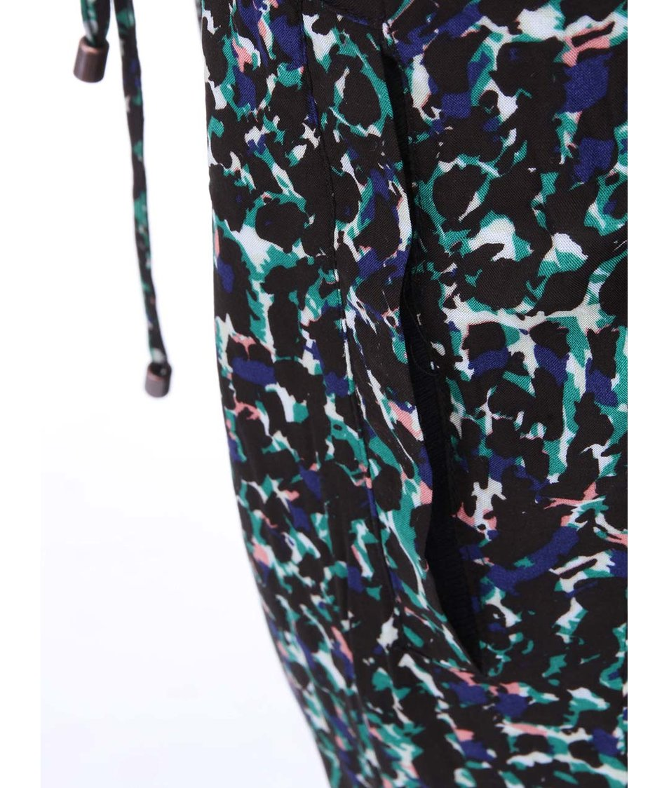 Zeleno-černé vzorované kalhoty ICHI Anoldi