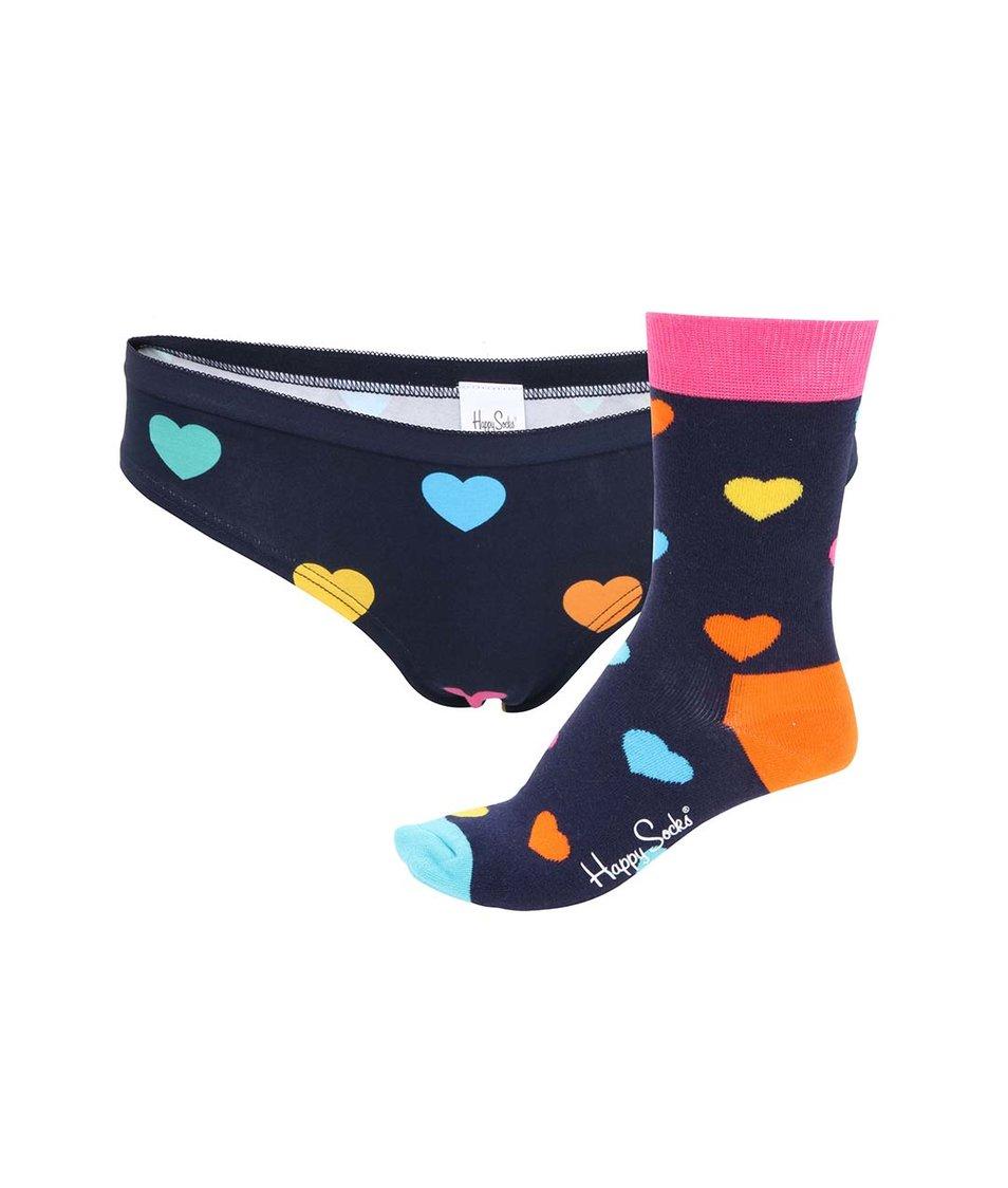 Set modrých dámských kalhotek a ponožek se srdíčky Happy Socks