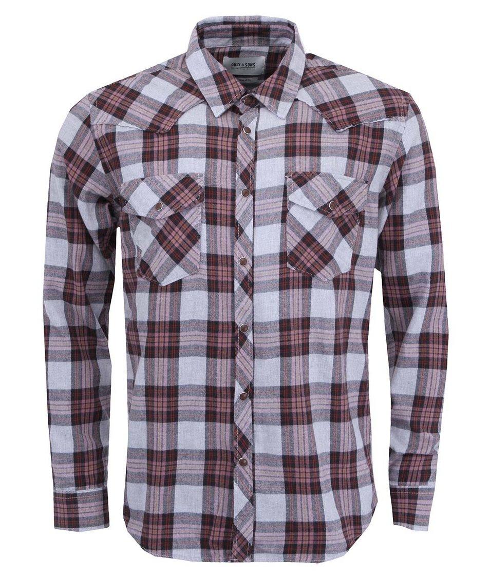 Šedá kostkovaná košile ONLY & SONS Mahon