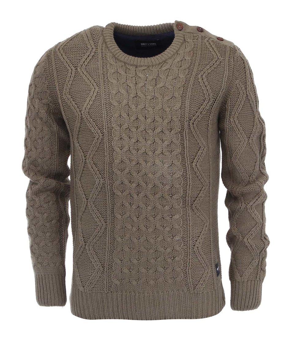Khaki svetr ONLY & SONS Laris