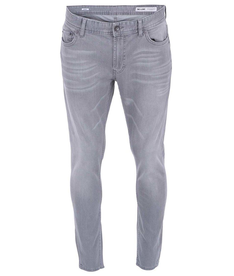 Světle šedé slim džíny ONLY & SONS Avi