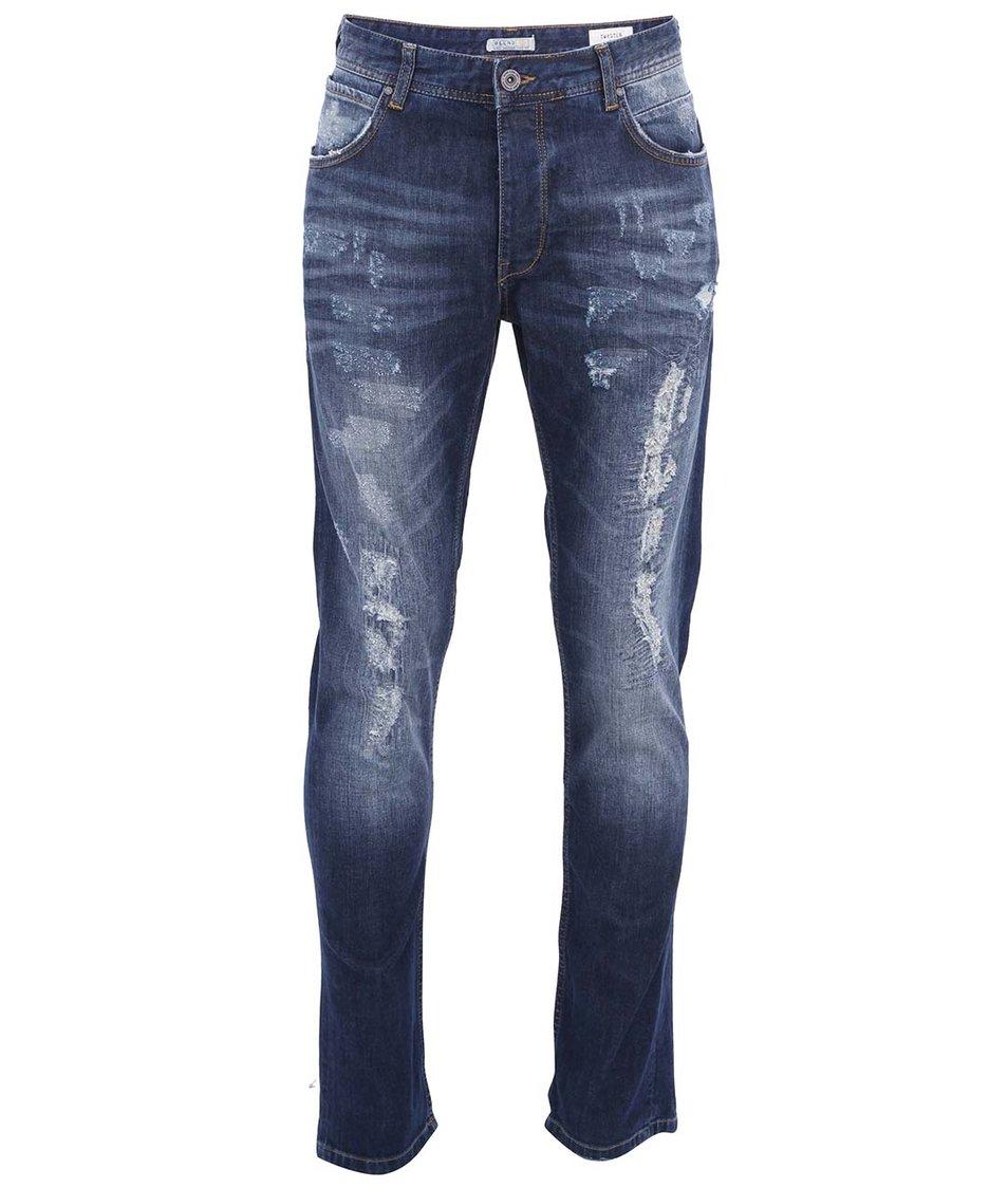 Modré ošoupané pánské džíny Blend