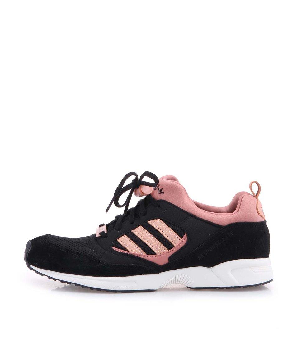 Růžovo-černé dámské sportovní boty adidas Originals Torsion Response
