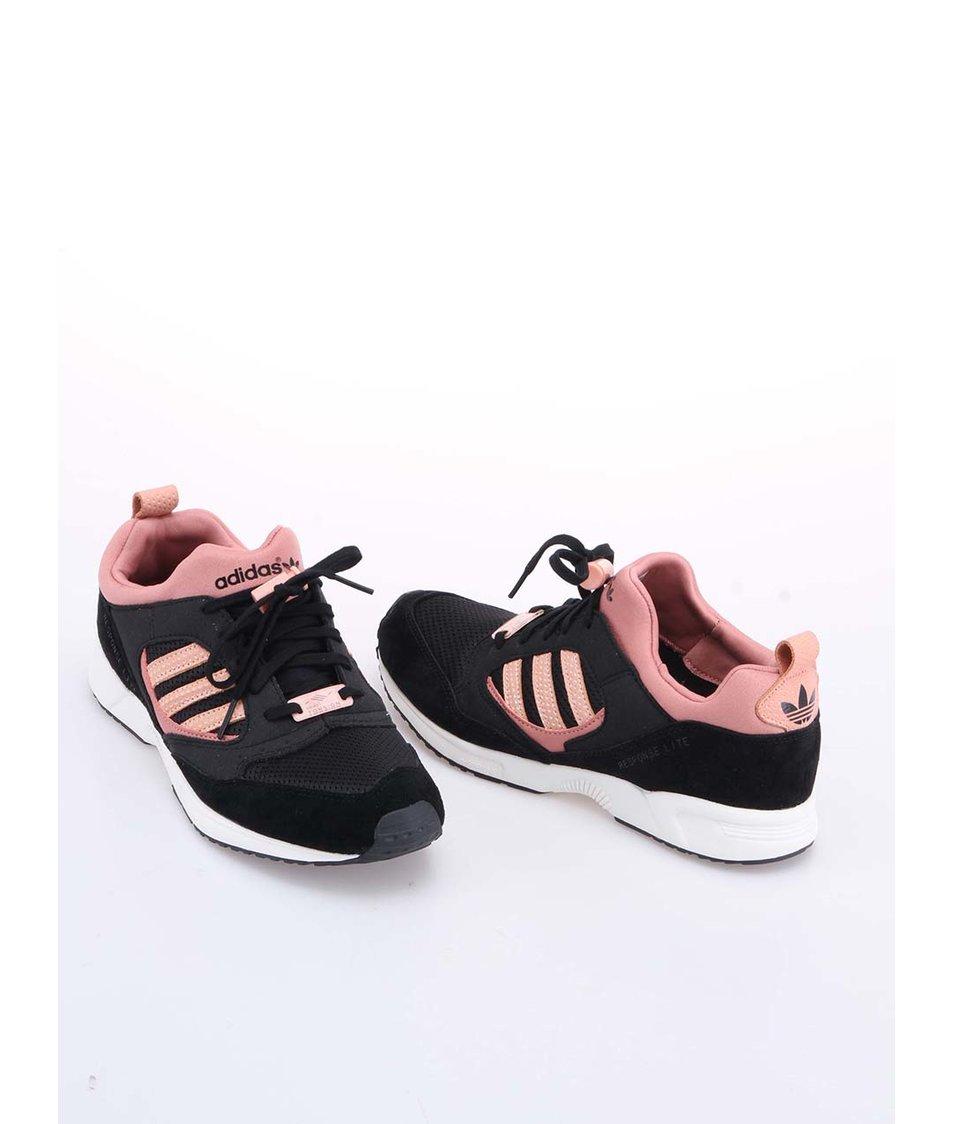 eb0cf4d02dd ... Růžovo-černé dámské sportovní boty adidas Originals Torsion Response ...