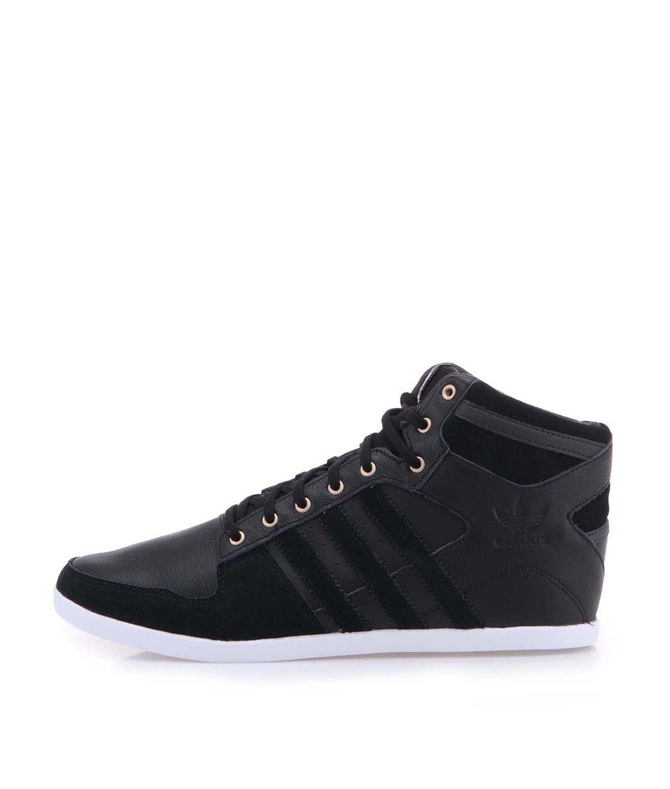 Černé pánské kožené kotníkové tenisky adidas Originals Plimcana