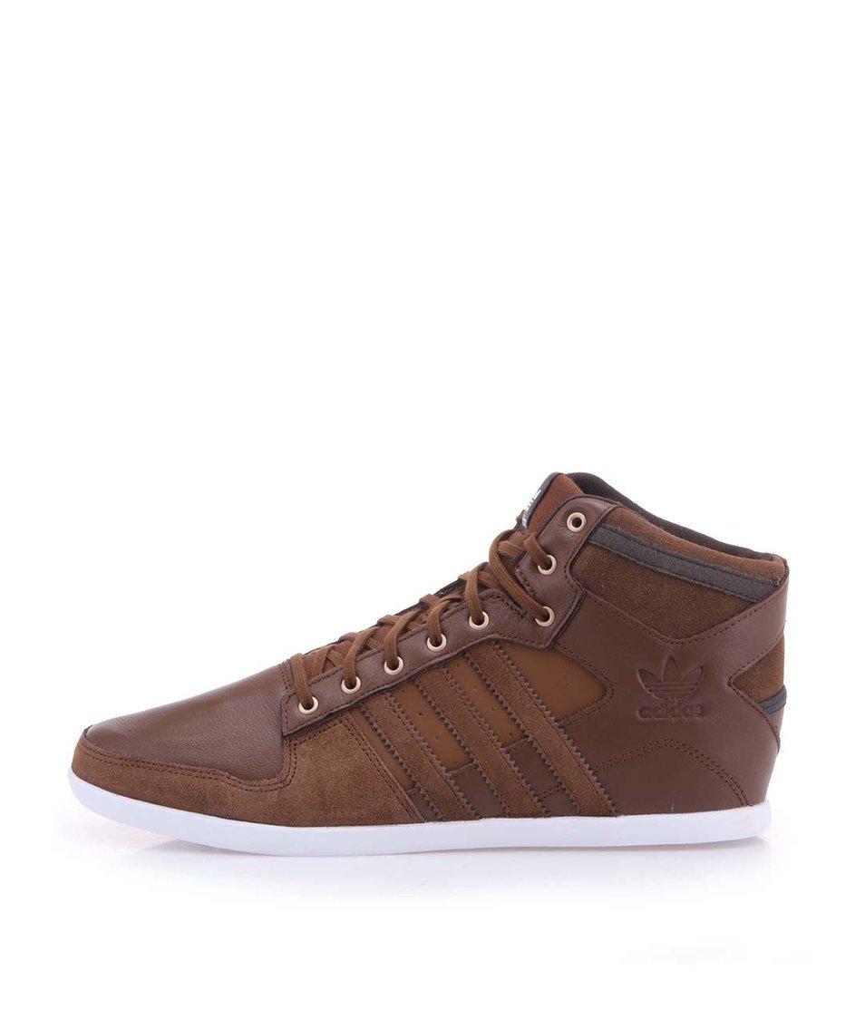 Hnědé pánské kožené  kotníkové tenisky adidas Originals Plimcana