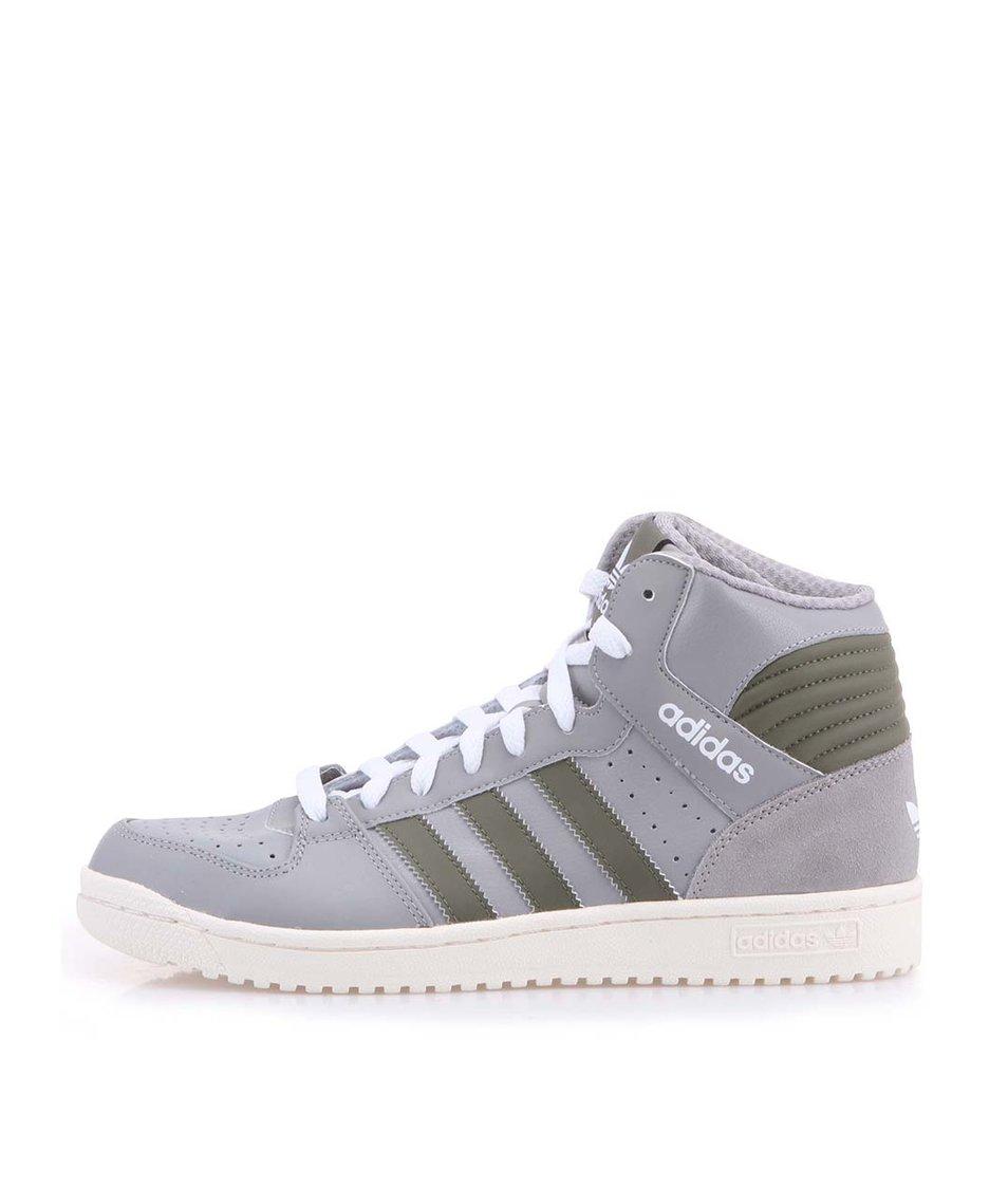 Šedé pánské kožené kotníkové tenisky adidas Originals Pro Play