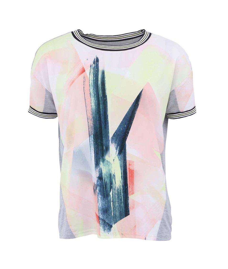 Šedé tričko s abstraktním motivem Vero Moda Jacine