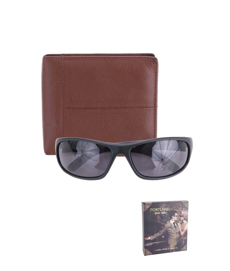 Sada s hnědou peněženkou a slunečními brýlemi Portland