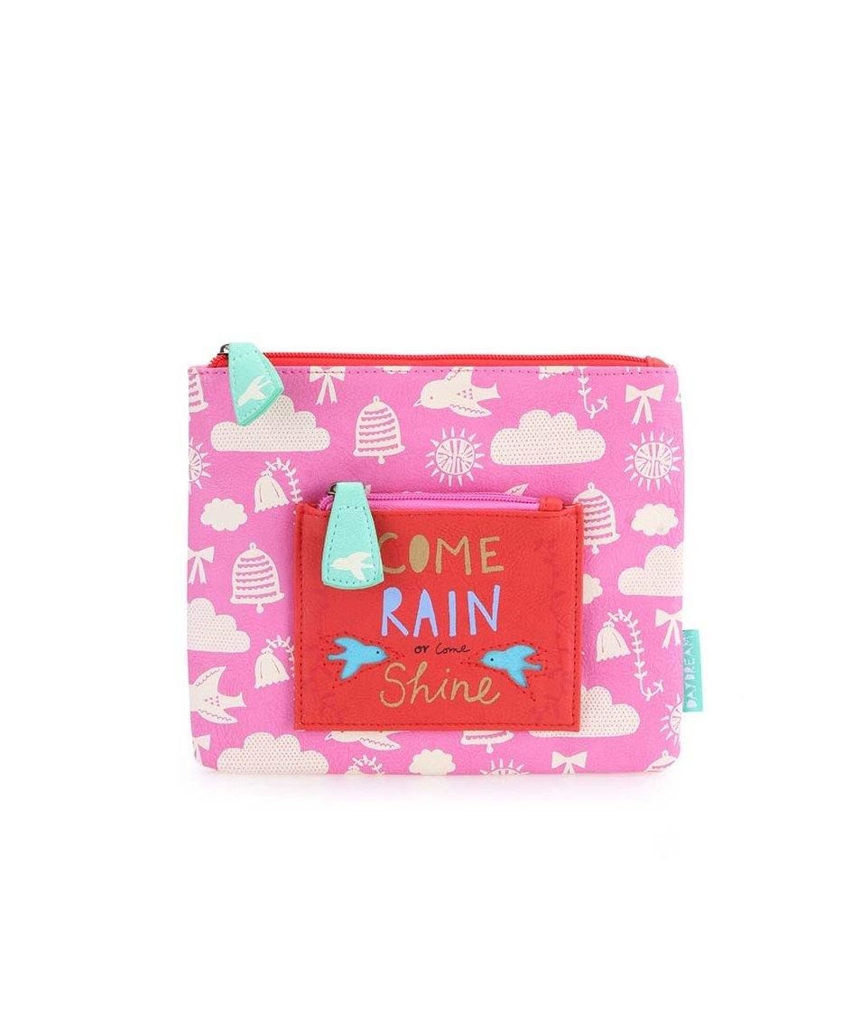 Růžová kosmetická taštička 2v1 Disaster Come Rain or Come Shine