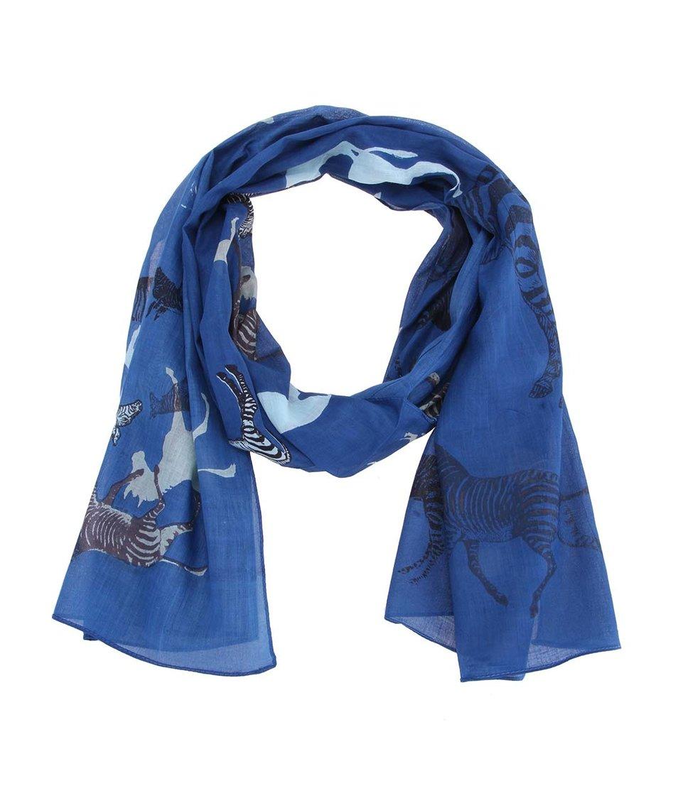 Modrý šátek s potiskem zeber Disaster