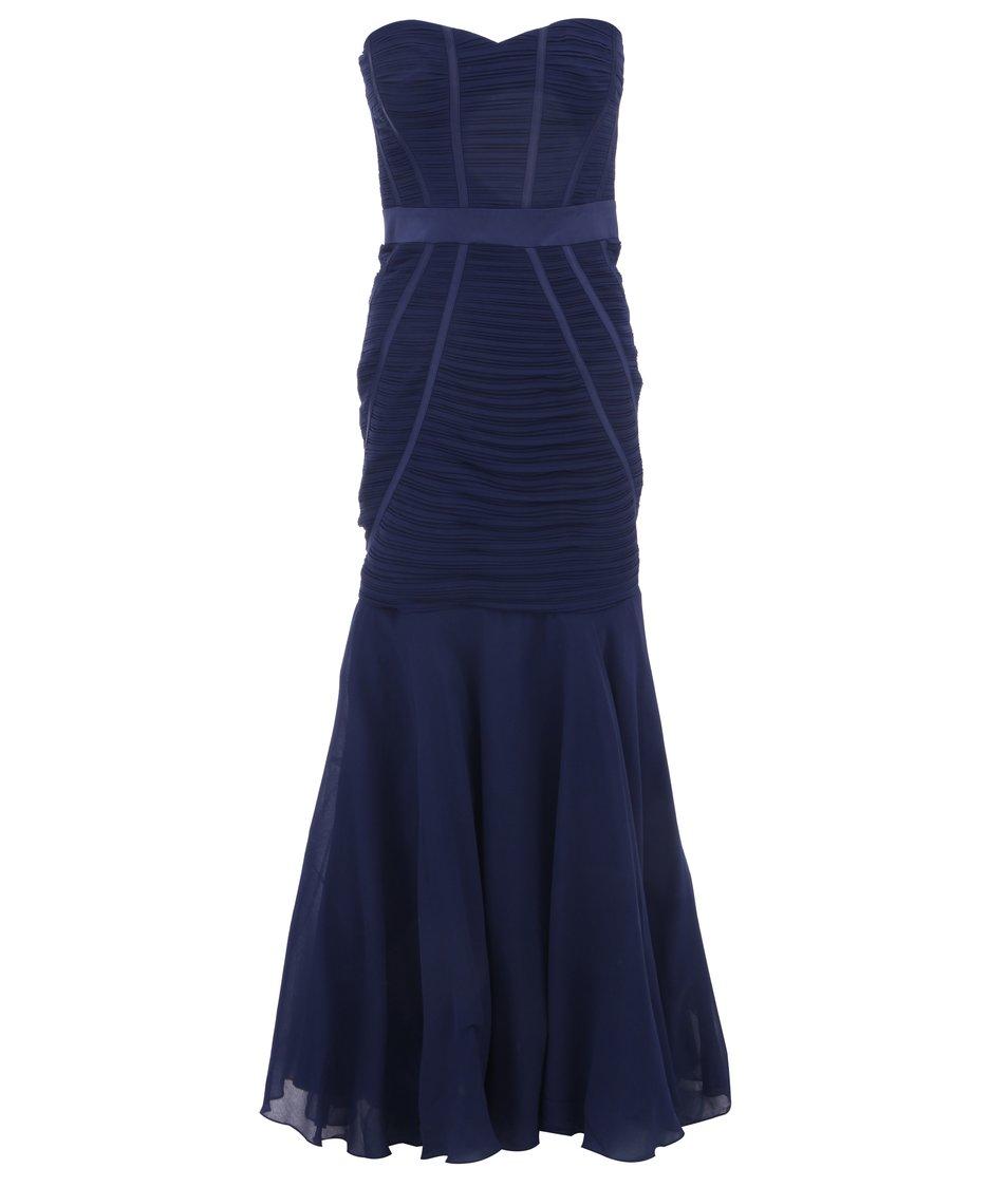 Modré dlouhé šaty bez ramínek Lipsy