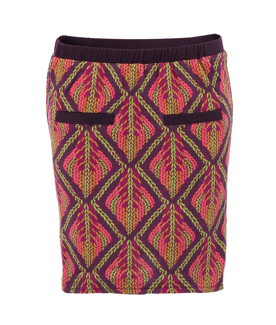 Fialová sukně s barevnými vzory GINGER+SOUL