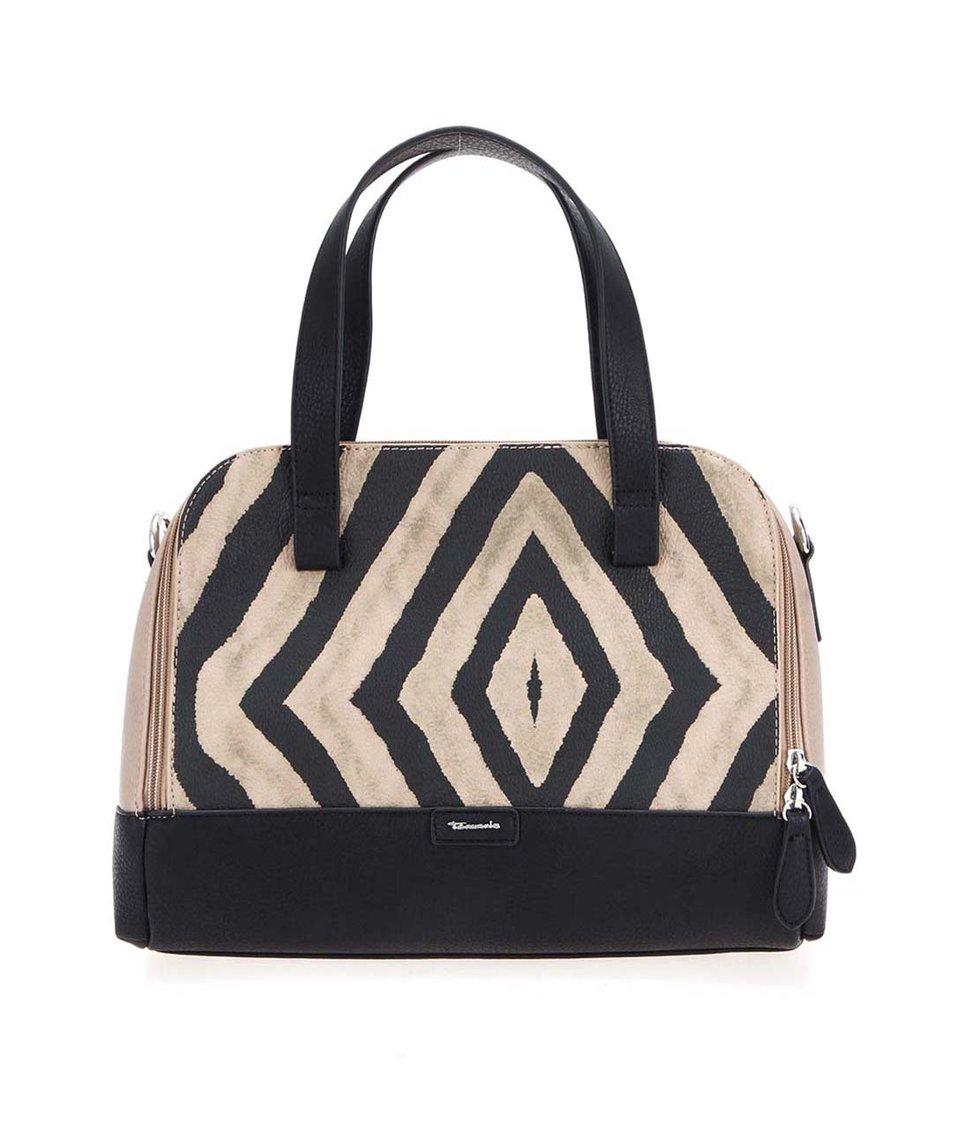 Béžovo-černá pruhovaná kabelka Tamaris Brigit