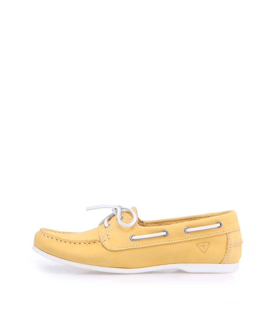 Žluté kožené mokasíny s koženou tkaničkou Tamaris