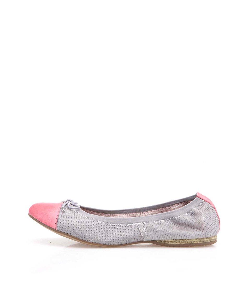 Šedé kožené balerínky s růžovou špičkou Tamaris