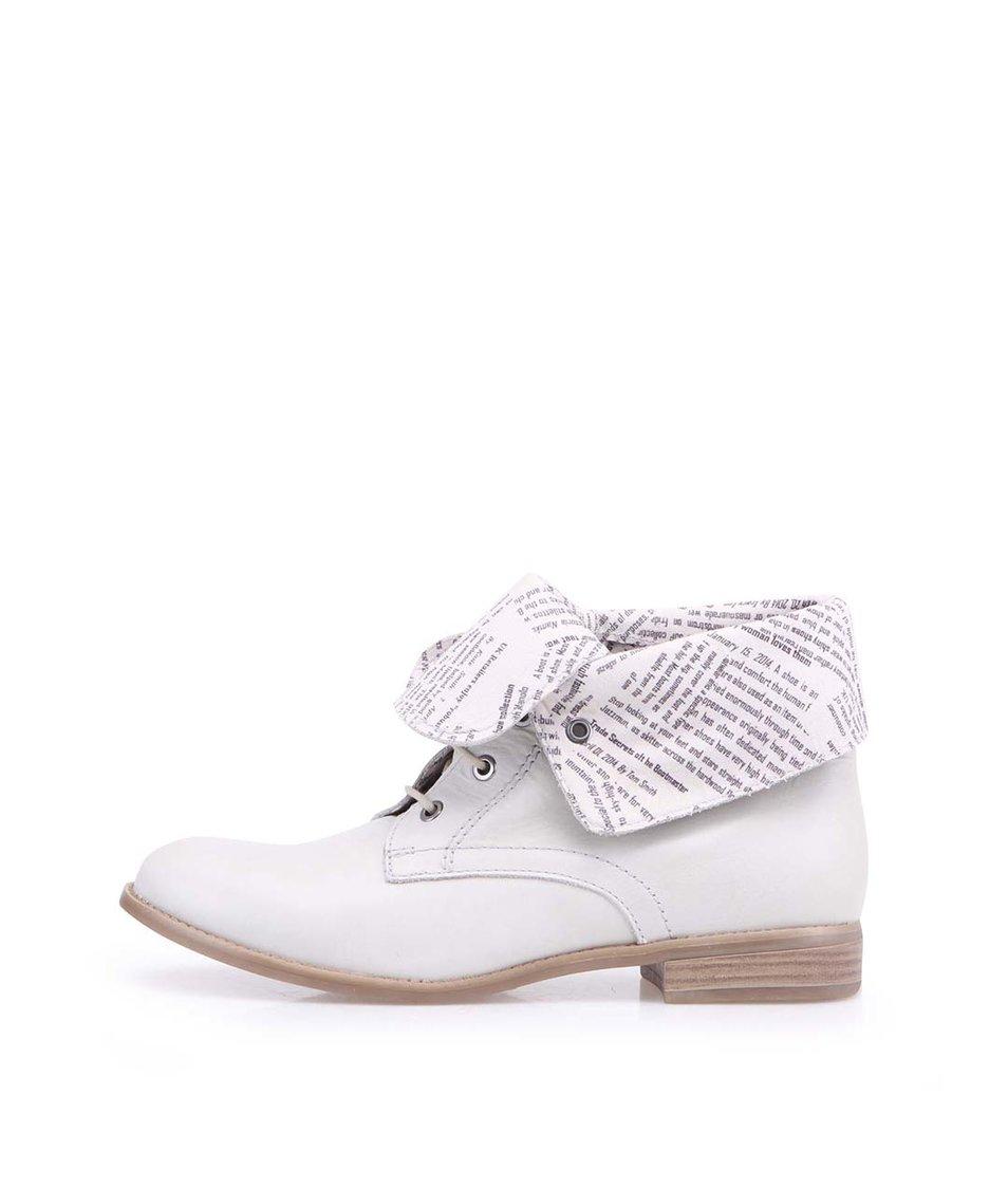 Světle šedé kožené ohrnovací boty Tamaris