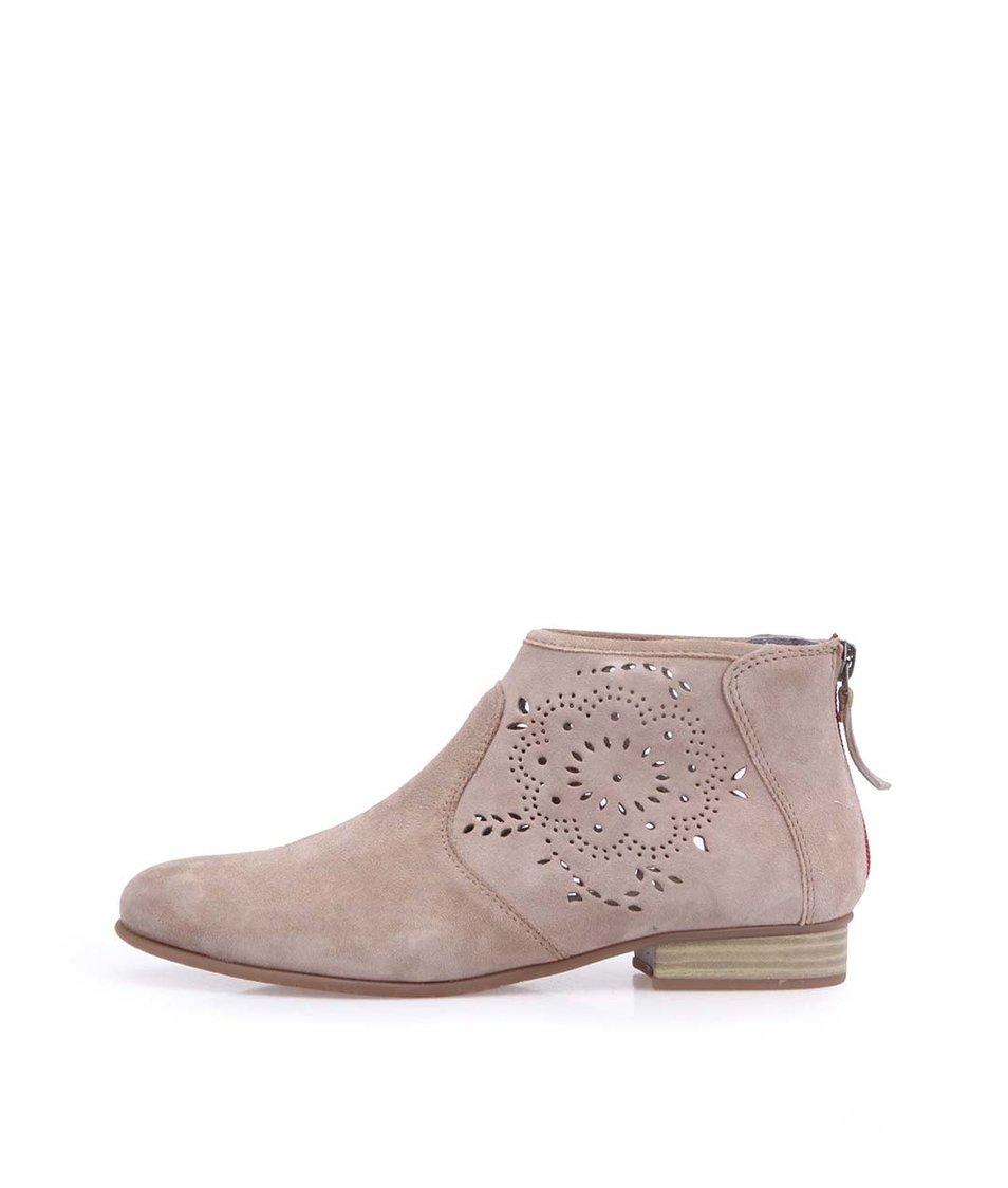 Béžové kožené boty se zdobením a zipem na patě Tamaris