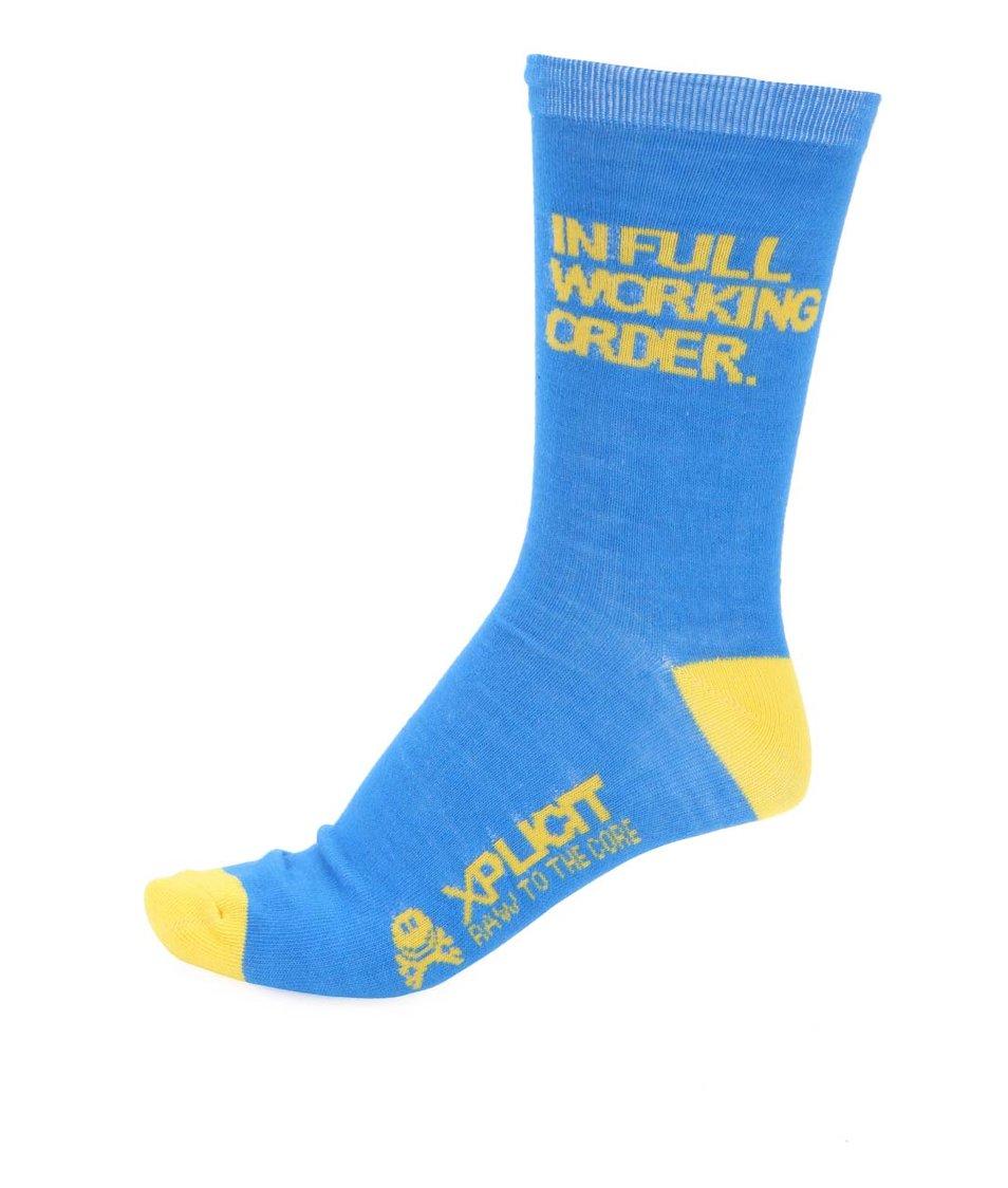 Žluto-modré pánské bavlněné ponožky Xplicit Infull