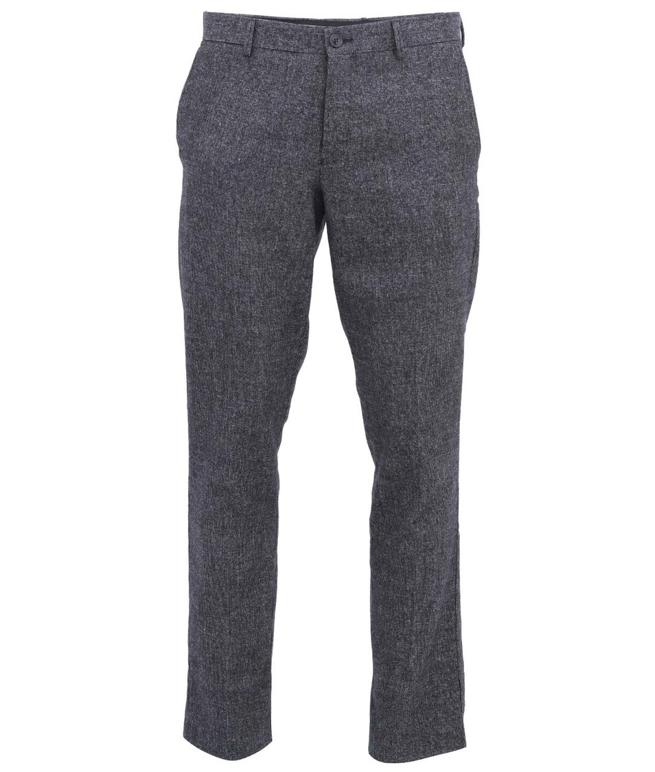 Šedé vlněné kalhoty Selected One Benson Salt Peber