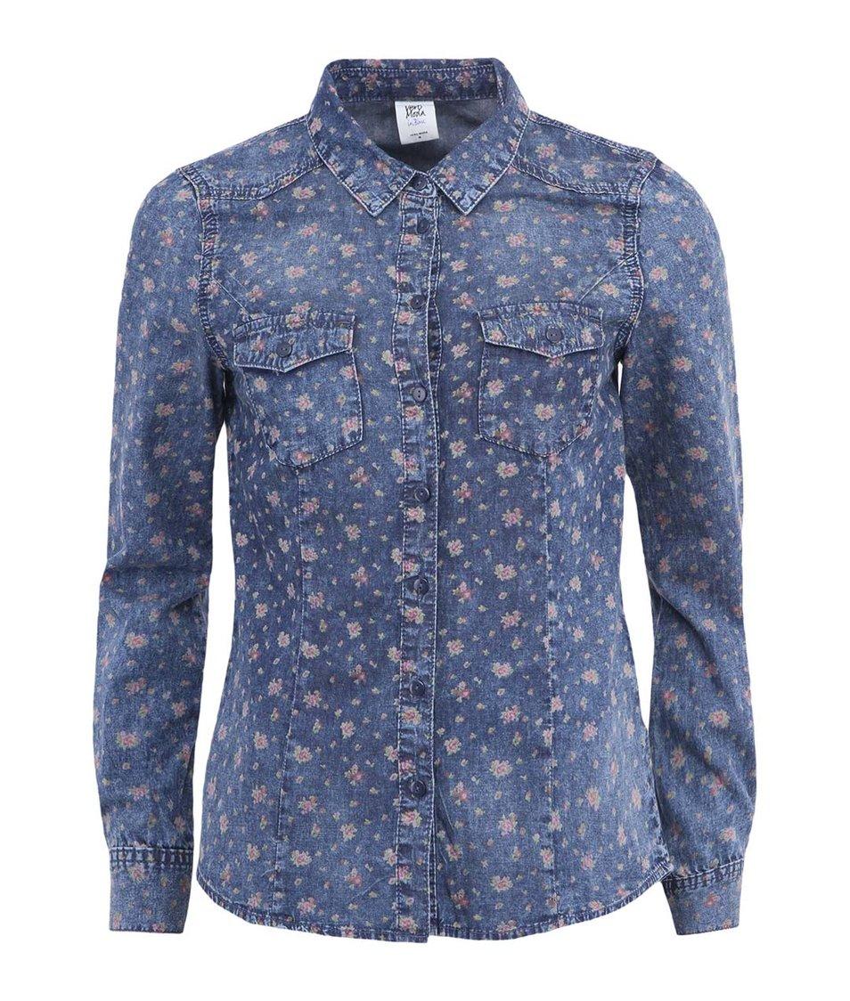 Modrá dámská květovaná denim košile Vero Moda Vera