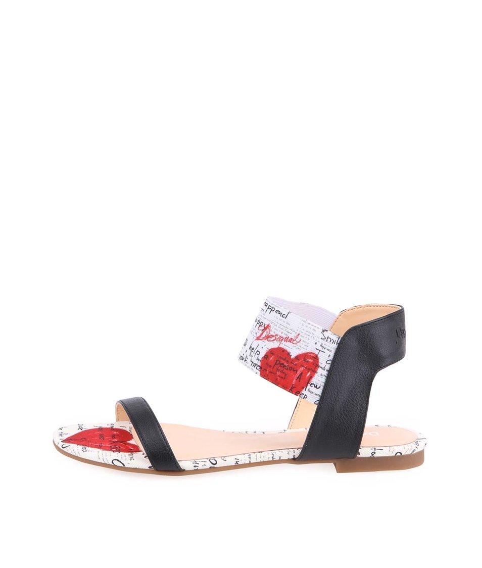 Bílo-černé sandály se srdíčky Desigual