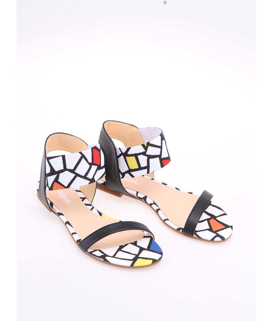 Černo-bílé minimalistické sandály Desigual