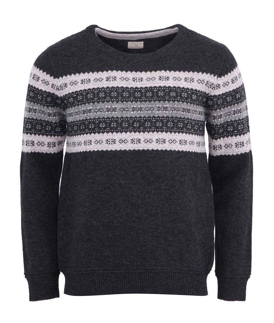 Tmavě šedý vlněný svetr se vzorem Selected Ayden