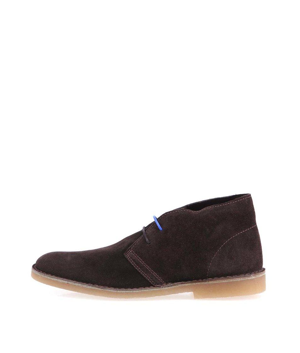 Tmavě hnědé kožené boty Selected Leon