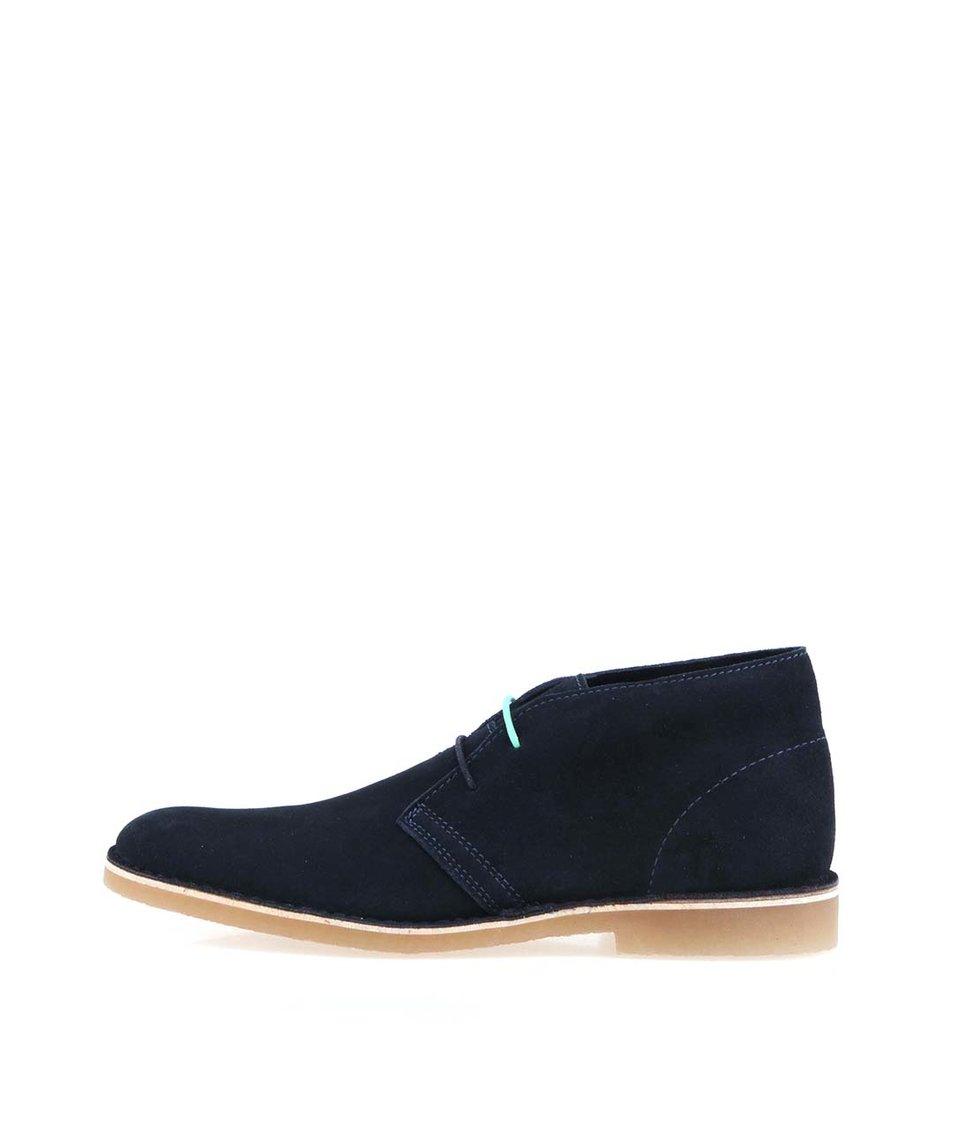 Tmavě modré kožené boty Selected Leon