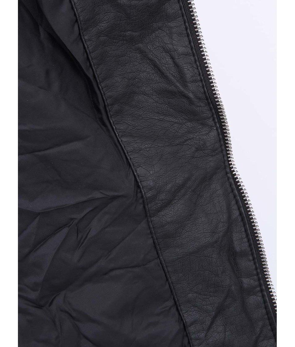 Černá koženková bunda ONLY Ferry