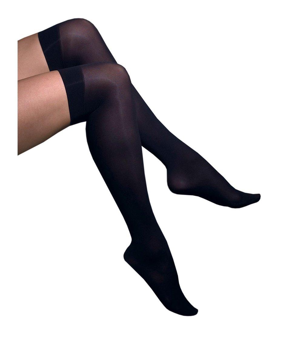 Černé samodržící punčochy nad kolena Gipsy