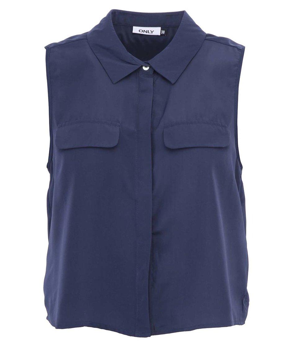 Tmavě modrá košile bez rukávů ONLY Cadie