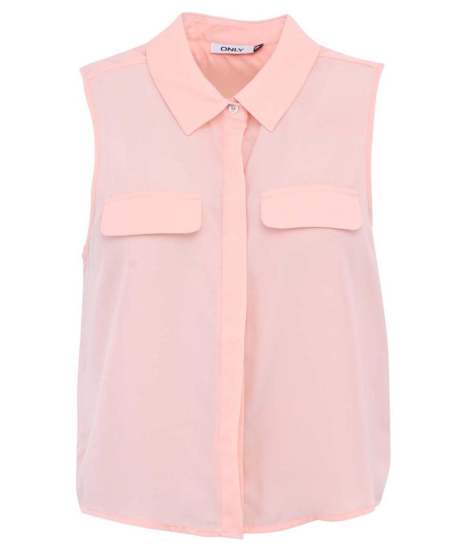 Růžová košile  bez rukávů ONLY Cadie