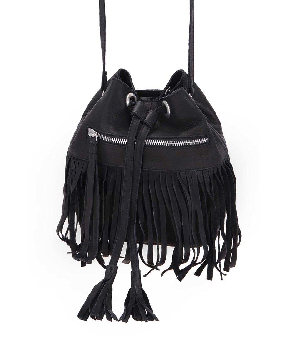 Černá malá kožená kabelka přes rameno Pieces Dagmar