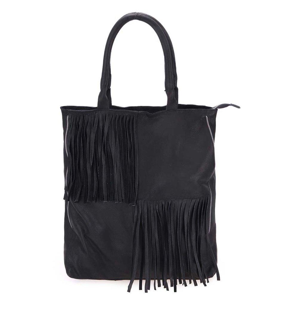 Černá větší kožená kabelka do ruky Pieces Daimi