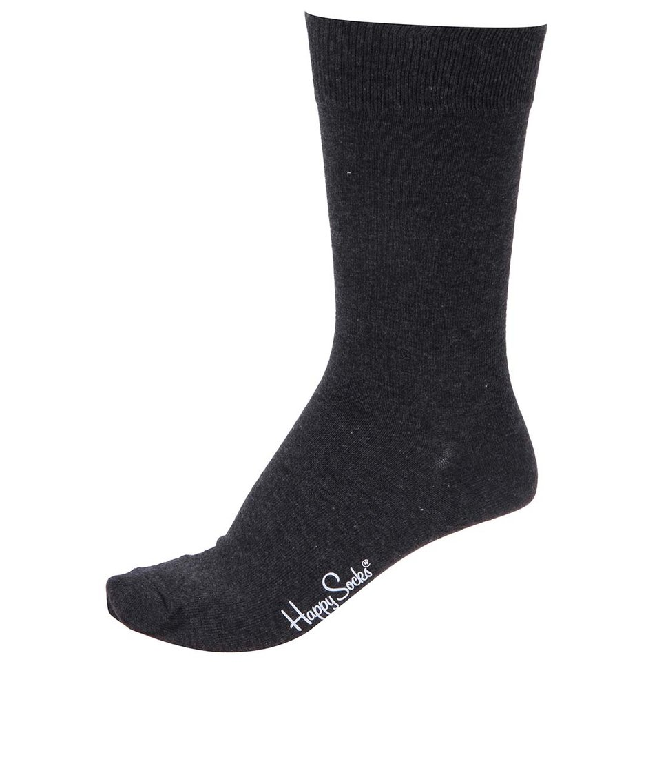 Tmavě šedé pánské ponožky Happy Socks Solid