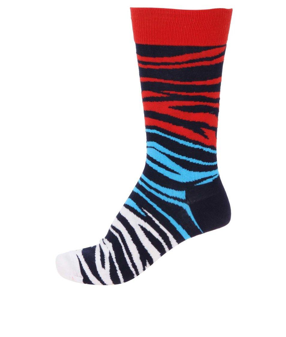 Bílo-modro-červené pánské vzorované ponožky Happy Socks